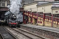 Arrival in Keighley (Tony Teague (Slowcomo)) Tags: 30742charters brstandardclass4mt canonef24105mmf4lisiiusmlens canoneos5dmkiv kwvr keighleyworthvalleyrailway no75078 freighttrain keighleystation preservedrailway heritagerailway steamrailway steamlocomotive tonyteague