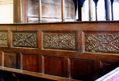 Stokesay, Shropshire, St. John the baptist, canopied pew, detail (groenling) Tags: stokesay shropshire salop england britain greatbritain gb uk stjohnthebaptist pew canopy wood carving woodcarving ornament molding