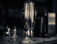 Time for some tubes (No Hype-Fi) Tags: tubes tube headphone amplifier retro bw black white close up lamp light dark