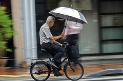 Rainy morning in Singapore (jeremyhughes) Tags: singapore rain cyclist cycling umbrella bicycle bike city urban panning speed movement street wheel road multitasking raining rainfall nikon d7000 nikkor 18200mmf3556 uncle singaporeuncle