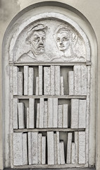 You cannot borrow these (David Feuerhelm) Tags: nikkor sculpture wall books stone faces monochrome krakow poland nikon d750 2470mmf28