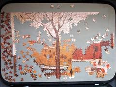 Brueghel puzzle progress report [upper left quarter] (pefkosmad) Tags: jigsaw puzzle hobby leisure pastime brueghel painting art fineart falcon secondhand complete unopened sealed project 3000pieces progressreport flemish genre