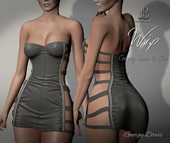 Work in Progress - Georgie Dress - Coming Soon to Uber! (Just BECAUSE_SL) Tags: biker leather mini dress straps strapped studs metal tight sexy cleavage booty panels wip work progress secondlife just because
