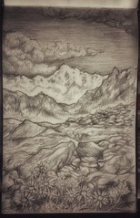 Gran Paradiso's Mountains / Valle d'Aosta / sketch by Dino Olivieri (! / dino olivieri / www.onyrix.com) Tags: sketch timelapse illustration illustrationart sketchbook art artist pencil monochrome