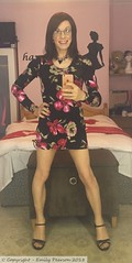 June 2018 - floral print bodycon dress (Girly Emily) Tags: crossdresser cd tv tvchix tranny trans transvestite transsexual tgirl tgirls convincing feminine girly cute pretty sexy transgender boytogirl mtf maletofemale xdresser gurl glasses dress tights hose hosiery indoor stilettos highheels