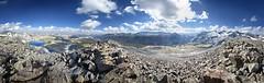Panorama from Amelia Earhart Peak - Yosemite (Bruce Lemons) Tags: sierranevada mountains backpacking hike hiking wilderness landscape california yosemite ameliaearhartpeak mark lembertdome tuolumnemeadows parsonspeak lyellcanyon lakeireland donahuepass