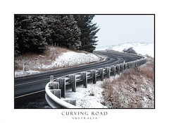 Curving road through snow covered hills (sugarbellaleah) Tags: winter snow snowing highway road curving pinetrees evergreen season transport travel vacation holiday bitumen hills fields countryside rural outdoors pretty cold chilly freezing trees snowcovered landscape australia oberon wet slippery blackice farmlands curve scurve barrier scenery scenic beautiful tourism