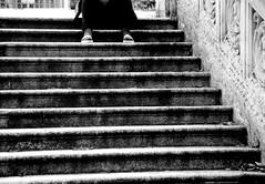 comodità.... (Davide Zappettini) Tags: filmphotography bw bianconero blackandwhite ilford fp4 city people alone stairs salsomaggiore