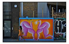 STREET ART by MEMI MARTINEZ (StockCarPete) Tags: memimartinez tea orangedress streetart londonstreetart urbanart graffiti shoreditchart london uk