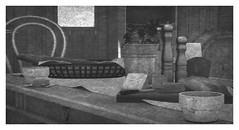 Breaking Bread (Loegan Magic) Tags: secondlife openlattecafe food table bread coffee cheese chairs window blackandwhite roses cutting board country vintage