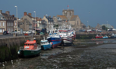 Harbourside (peterphotographic) Tags: p5260753edwm harbourside olympus em5mk2 microfourthirds ©peterhall barfleur normandy normandie france harbour port mooring lowtide boat ship vessel fishingboat church town quay quayside water sea englishchannel