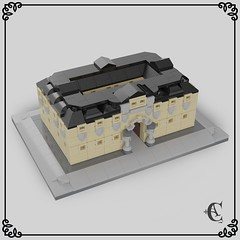 ✠ Neoclassical building ✠ (✠ Corvus Auriac MOCs ✠) Tags: lego moc micro scale building old vintage century xviii xix style neoclassical renaissance baroque black roof flickr render ldd design mini mecabricks afol
