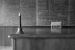 Old Skool (Cindy's Here) Tags: oldskool bell teachersdesk chalkboard bw foundersmuseumpioneervillage thunderbay ontario canada 118 95 100xthe2018edition 100x2018 image44100