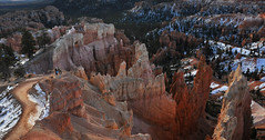 Bryce Canyon - A Walk on the Wild Side (Drriss & Marrionn) Tags: travel utah usa landscape landscapes mountains desert rock rockformation ridge cliff cliffs mountainside canyon brycecanyon red sand mountain snow pano panorama stitch nature trees forest brycecanyonnationalpark