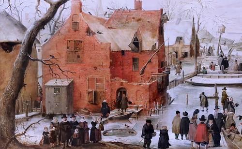 IMG_0852 Hendrick Avercamp. 1585-1634 Amsterdam Winter landscape. Paysage d'hiver; Vers 1610 Schwerin.Staatliches Museum