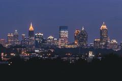 Hello Atlanta (austinfloyd) Tags: atlanta skyline city night blue hour lights buildings skyscrapers skyscraper georgia trees