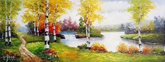 September Tenderness, Art Painting / Oil Painting For Sale - Arteet™ (arteetgallery) Tags: arteet oil paintings canvas art artwork fine arts landscape tree forest season autumn trees summer water sky spring lake maple river fall leaf natural grass outdoor leaves scenery outdoors stone reflection foliage tranquil environment november sunny colorful plant peaceful yellow rock serene pond tourism wood rural scene sunlight scenic landscapes impressionism lakes rivers lime paint