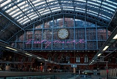 I Want My Time With You (chrisjohnbeckett) Tags: traceyemin stpancrasstation london londonist timeout art publicart installation terracewires writing words text neon slogan message tag pink chrisbeckett fujifilmx100f railway travel clock time