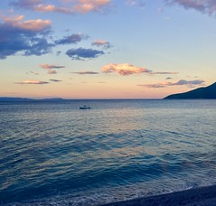 Sunset fishing boat (grecophile_1) Tags: clouds sunset sea fishing boat poulithra peloponnese greece