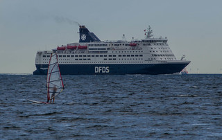 Cruise ferry Crown Seaways and a windsurfer