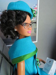 11. Waiting for her flight (Foxy Belle) Tags: doll katherine johnson made move rebodied redressed science nasa celebrity dollhouse miniature diorama airport work barbie uniform vintage gray american airlines business playscale ooak 16 scale 1960s