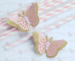 Pink and gold butterflies, party decorations, baby shower, princess party, baptism, fairy tale party (Di Anna's Wonderland) Tags: princess party candybar baptism pinkandgold pink gold birthday wedding decorations baby girl fairytale christening bridalshower handmade luxury pearls teaparty table supplies ideas