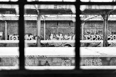 Lines (kceuppens) Tags: black white bw blackandwhite zwart wit zw nikon d810 nikond810 nikkor5014afs 50mm treinstation station train trein line lines lijnen lijn belgium belgie grafiti tags abandoned verlaten old