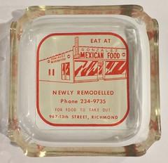 GONZALEZ MEXICAN FOOD RICHMOND CALIF (ussiwojima) Tags: gonzalezmexicanfood restaurant bar cocktail lounge richmond california glass advertising ashtray