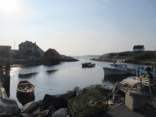 Lobster traps, boats, mouth of inlet, Peggy's Cove, Nova Scotia