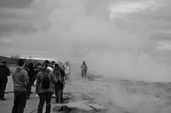 Tourists at Geysir Strokkur, Iceland (suttree140782) Tags: iceland icelandic photography island natur nature geysir geysirstrokkur blackandwhite schwarzweiss monochrom fog steam volcanic tourists