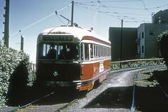 US CA San Francisco MUNI 1180 4-13-1974 J-Church Mission Park (David Pirmann) Tags: tram trolley streetcar transit california ca sanfrancisco muni marketstreetrailway pcc
