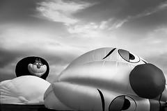 Happy And Sad (Modkuse) Tags: hotairballoon nationalballooncompetition monochrome bw blackandwhite nikon nikonslr nikonn90s nikonsir
