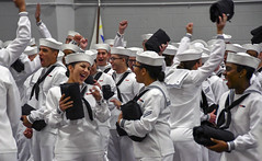 New Sailors celebrate after the completion of their pass-in-review ceremony at Recruit Training Command. (Official U.S. Navy Imagery) Tags: greatlakes ill unitedstates