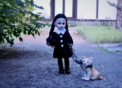 Walking her Kitty Cat (pianocats16) Tags: wednesday addams doll ooak custom living dead dolls lion cub china figure antique cute