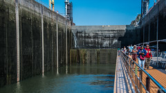 2018 - Romania - Serbia - Danube River - Iron Gate 1 - Upper Lock Chamber (Ted's photos - For Me & You) Tags: 2018 cropped nikon nikond750 nikonfx romania serbia tedmcgrath tedsphotos vignetting irongatei danube danuberiver lock riverlock lockchamber redrule red avalonpassion avalonwaterways
