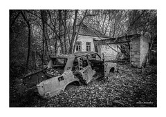 Once a pride and joy (mikem_photo) Tags: chernobyl abandoned car rust decay lost forgotten exclusion pripyat mono bw monochrome