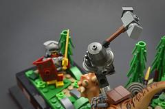Breach (Hammer) (Klikstyle) Tags: lego medieval castle knight dinosaur stygimoloch vignette battle