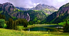 On a rainy day (sylviafurrer) Tags: lauenensee lake rainyday grün green mountain mountainlake bergsee berge berneroberland bernesealps switzerland see coth5 fantasticnature