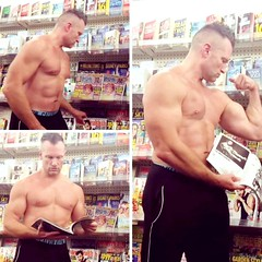 shirtless magazine flex in store (ddman_70) Tags: shirtless pecs abs muscle shopping store flex flexing biceps