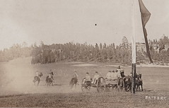 """RPPC c.1905 DOUBLE WIDE MILITARY HORSE SOLDIERS AND CANON SQUAD IN REVIEW RIDING AT FULL GALLOP Offices on the right Military Exercise Location and Photographer UNK3 (UpNorth Memories - Donald (Don) Harrison) Tags: vintage antique postcard rppc """"don harrison"""" """"upnorth memories"""" upnorth memories upnorthmemories michigan history heritage travel tourism restaurants cafes motels hotels """"tourist stops"""" """"travel trailer parks"""" cottages cabins """"roadside"""" """"natural wonders"""" attractions usa puremichigan """" """"car ferry"""" railroad ferry excursion boats ships bridge logging lumber michpics uscg uslss"""