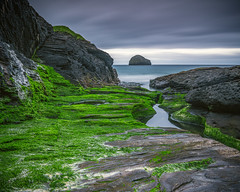 Narrow Channel (Anthony White) Tags: england unitedkingdom gb trebarwithstrand cornwall coast eroded slate moss clouds