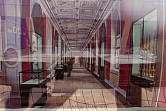 at the museum (gabi lombardo) Tags: museo reflections spiegelungen corridoio soffittoacassettoni interno ausstellung glasvitrinen windows finestre fenster armi weapon waffen persone surreal ombre linee linien shadows