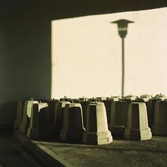 Hidden under the bridge (belousovph) Tags: mediumformat analog film portra kodak 120 zenzanon bronica portra160 light doors goldenhour golden russia rust grid yellow minimal abstraction