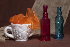 Still Life with Milk Glass sugar bowl (N.the.Kudzu) Tags: tabletop stilllife milkglass bowl scarf glassware bottles cheese cloth canondslr canoneflens lightroom