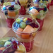 Fruit salad in a transparent cup