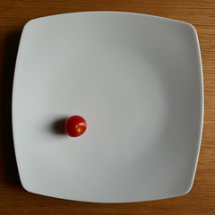 Alone (Monceau) Tags: tomato cherrytomato red alone single saladplate plate white negativespace odc square shadow diet meandmyshadow