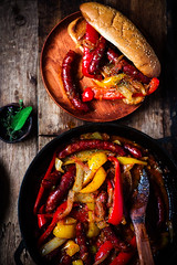 Sausage, Peppers, and Onion  in iron pan (Zoryanchik) Tags: peppers onions meat food meal pork snack dinner lunch beef piece sausages party eat cooking dish roast grill barbecue