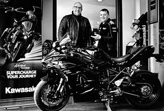 A Super Charged Journey! (Missy Jussy) Tags: kawasaki kawasakininja ningah2sx kawasakigreen motorbike bike happiness mono monochrome blackwhite blackandwhite bw canon canon5dmarkll canon5d canoneos5dmarkii 50mm ef50mmf18ll ef50mm canon50mm fantastic50mm indoor people men advertising