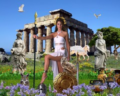Goddess Athena (Davien Orion) Tags: adobephotoshop photoshopelements photomanipulation conceptualphotography composite deviantart deviant goddess athena pallas athens temple ruins shield spear warrior owls owl whitedress greek greekgod greekgoddess greekmythology greektemple grecian woman model fantasy