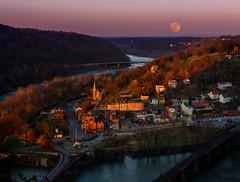 Harpers Ferry Sunrise/Moonset (robert_golub) Tags: potomac shenandoah water maryland wv goldenhour harpersferry sunrise moonset